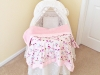 Pink Bird Minky Baby Blanket. ©CherrySprinkle.com. DO NOT COPY